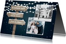 Kerst-verhuiskaart 2 foto's met lampjes en wegwijzerbord