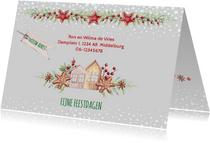 Kerst-verhuiskaart huisjes met kerstkoekjes
