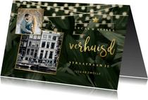 Kerst-verhuiskaart jungle bladeren met gouden accenten
