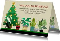Kerst-verhuiskaart kerstboom kaarsen planten