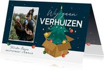 Kerst verhuiskaart kerstboom verhuisdoos kerstballen sterren