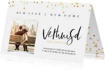 Kerst verhuiskaart met foto en gouden stippen