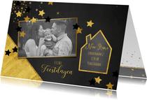 Kerst verhuiskaart met foto hip en feestelijk goud sterren