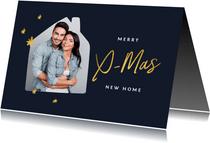 Kerst verhuiskaart met foto huis en goudlook kerstboom