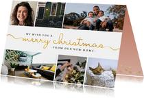 Kerst-verhuiskaart  met sierlijke letters en foto's