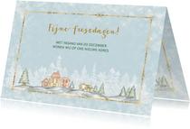 Kerst verhuiskaart met winters dorp met sneeuw