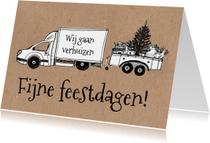Kerst verhuiskaart verhuiswagen