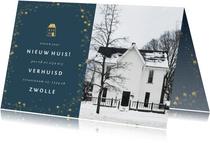 Kerst-verhuiskaartje met foto en gouden huisje