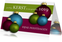 Kerstkaart kerstballen in 3 kleuren 2019