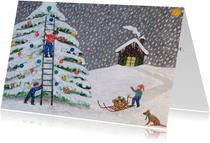 Kerstboom die versierd wordt door kinderen