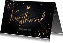 Kerstborrel uitnodiging zwart goudlook confetti