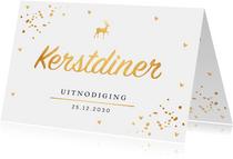 Kerstdiner uitnodiging confetti goudlook