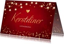 Kerstdiner uitnodiging rood lampjes goudlook rechthoekig