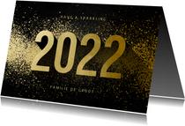 Kerstkaart 2022 goudlook met spetters