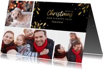Kerstkaart 3 foto's met tekstvak gouden accenten