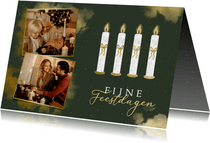 Kerstkaart 4 adventskaarsen met foto's