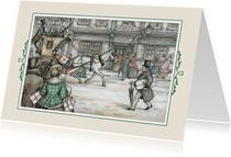 Kerstkaart - Anton Pieck illlustratie postkoets in straat