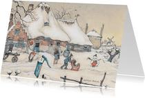 Kerstkaart - Anton Pieck illustratie sneeuwlandschap