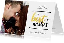 Kerstkaart - best wishes met glitter en gouden letters