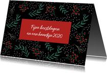 Kerstkaart botanisch met rood vlak