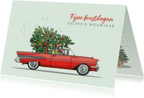 Kerstkaart Chevrolet bell air rood