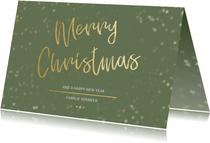 Kerstkaart Christmas groen en goud - Een gouden kerst