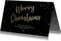 Kerstkaart Christmas zwart met goud - Een gouden kerst
