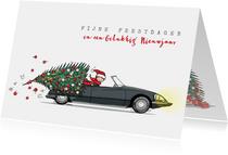 Kerstkaart Citroen DS met kerstboom