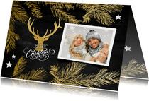 Kerstkaart collage krijtbord hert en dennetakken goud