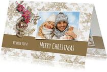 Kerstkaart collage sterren taupe eigen foto