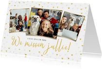 Kerstkaart corona fotokaart liefde hartjes goud missen
