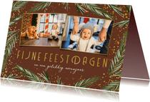 Kerstkaart dennenkader 2 foto's fijne feestdagen