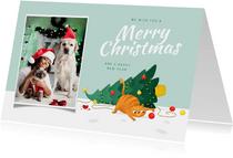 Kerstkaart dieren kat kerstboom grappig kerstboom kerstbal