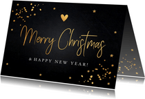 Kerstkaart donker gouden confetti rechthoekig