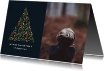 Kerstkaart donker met botanische kerstboom en foto