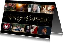 Kerstkaart donker sterren gouden letters en foto's