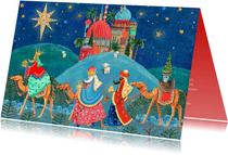 Kerstkaart drie koningen en bethlehem