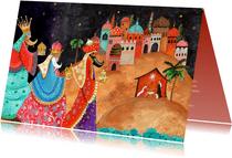 Kerstkaart drie koningen met bethlehem en stalletje