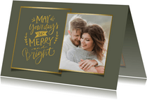 Kerstkaart eigen achtergrondkleur Merry and Bright