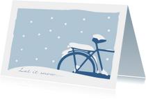 Kerstkaart fiets in de sneeuw