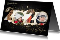 Kerstkaart fijne feestdagen fotocollage 2020 gouden spetters