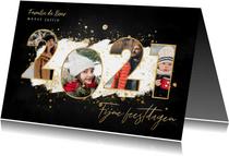 Kerstkaart fijne feestdagen fotocollage 2021 gouden spetters