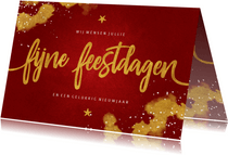 Kerstkaart Fijne Feestdagen rood met goud