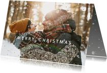 Kerstkaart foto-effect van sneeuw en goudstipjes