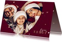 Kerstkaart foto in hart groot met gouden hartjes