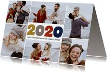 Kerstkaart fotocollage grote cijfers 2020