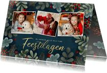 Kerstkaart fotocollage kersttakjes kader, hartjes en sneeuw