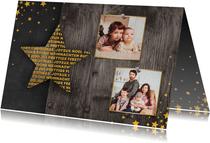 Kerstkaart fotocollage met meertalige ster en gouden sterren