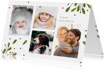 Kerstkaart fotocollage met takjes en besjes