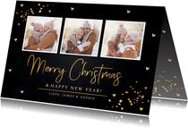 Kerstkaart fotocollage zwart goudlook rechthoekig
